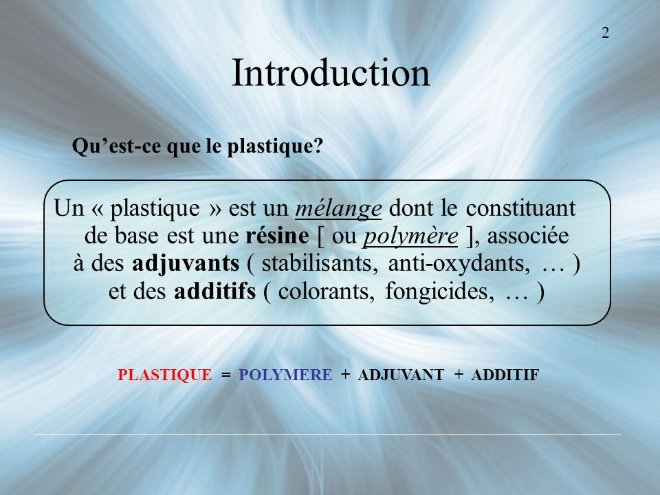 PLASTIQUE = POLYMERE + ADJUVANT + ADDITIF