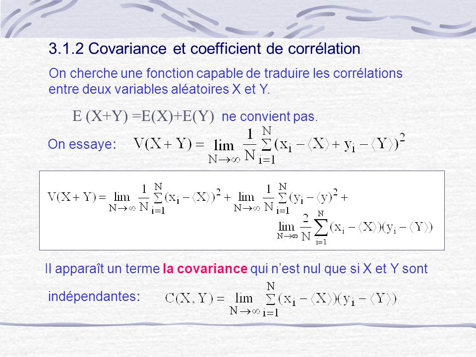 3.1.2 Covariance et coefficient de corrélation.