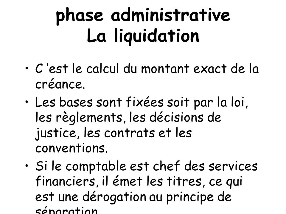 phase administrative La liquidation