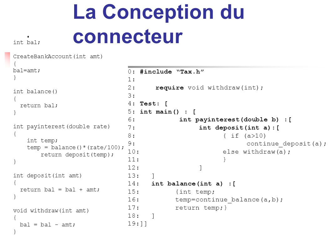 La Conception du connecteur