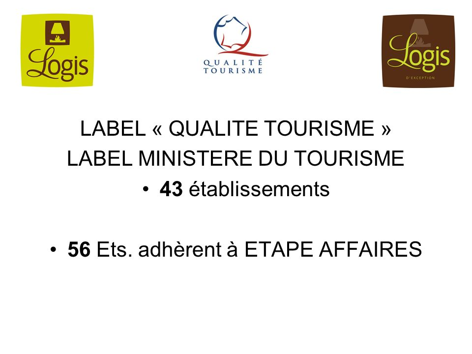 LABEL « QUALITE TOURISME » LABEL MINISTERE DU TOURISME