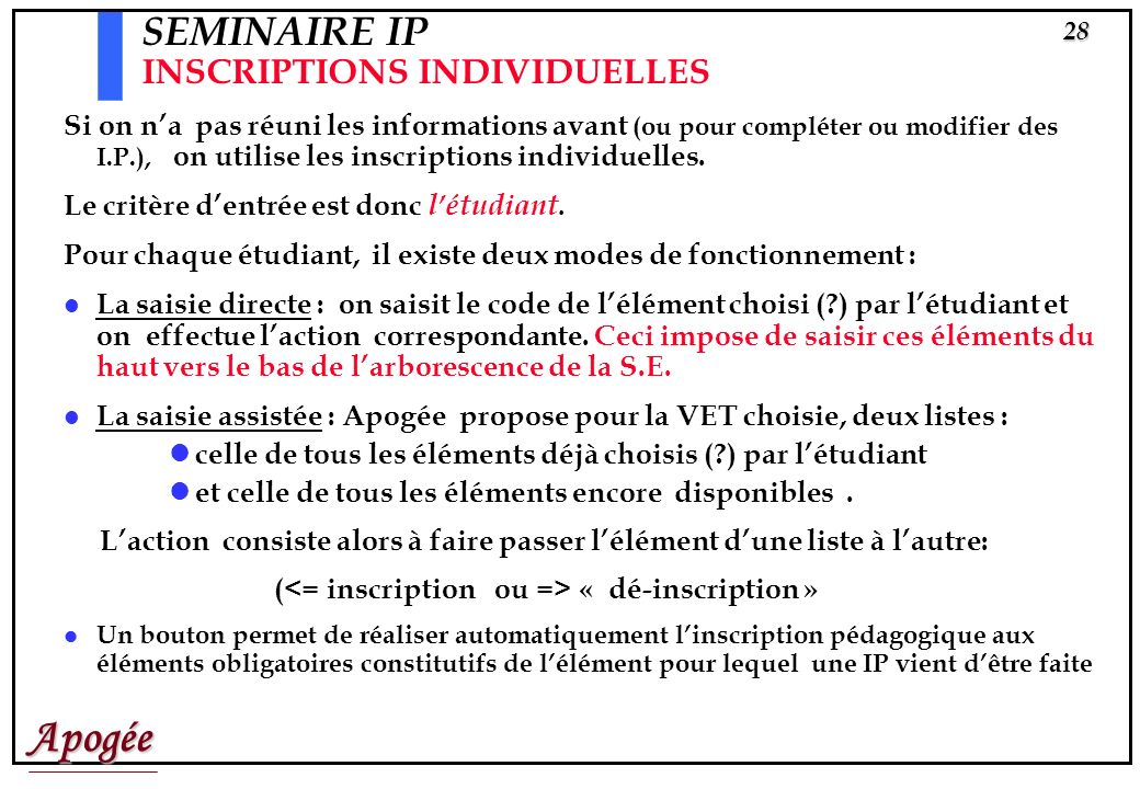 SEMINAIRE IP INSCRIPTIONS INDIVIDUELLES
