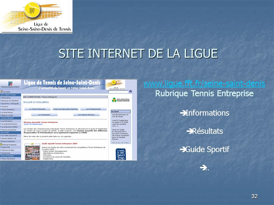 SITE INTERNET DE LA LIGUE
