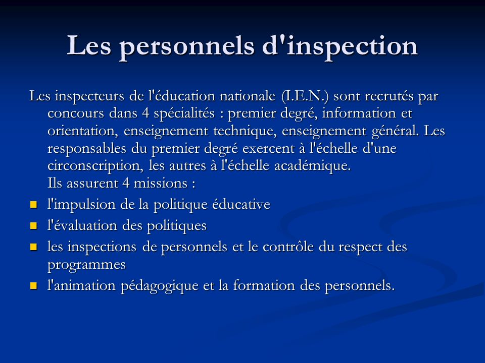 Les personnels d inspection