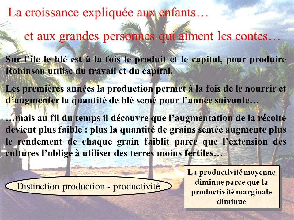 Distinction production - productivité