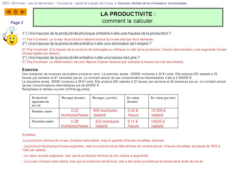 LA PRODUCTIVITE : comment la calculer.