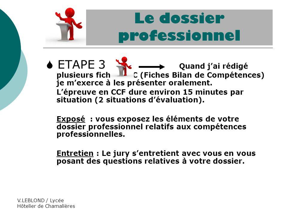 Le dossier professionnel ppt video online t l charger - Fiche bilan de competences bac pro cuisine ...