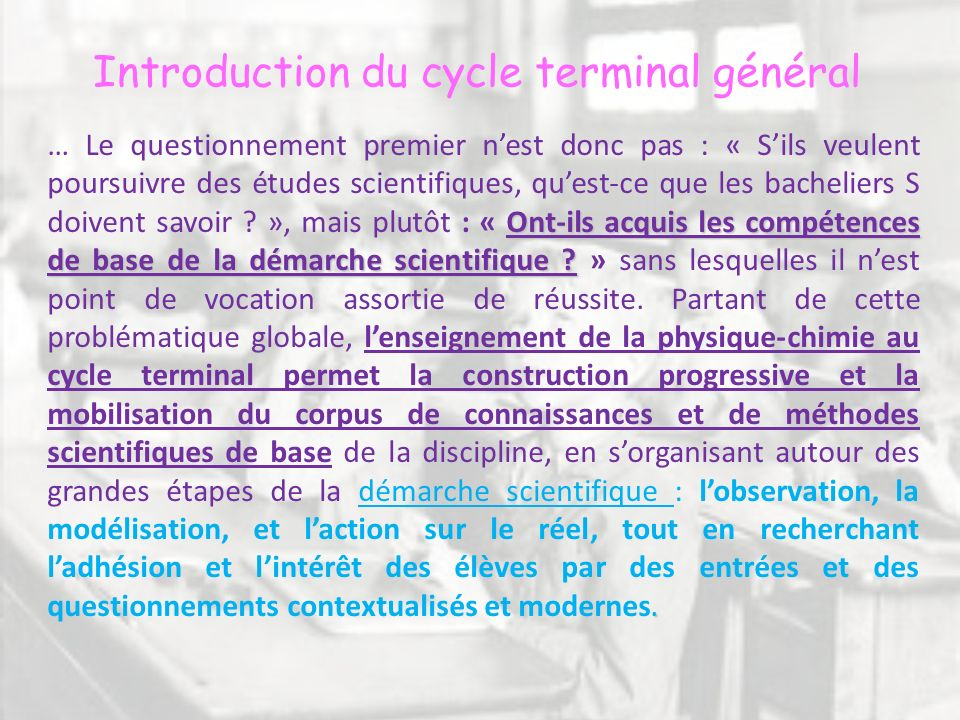 Introduction du cycle terminal général