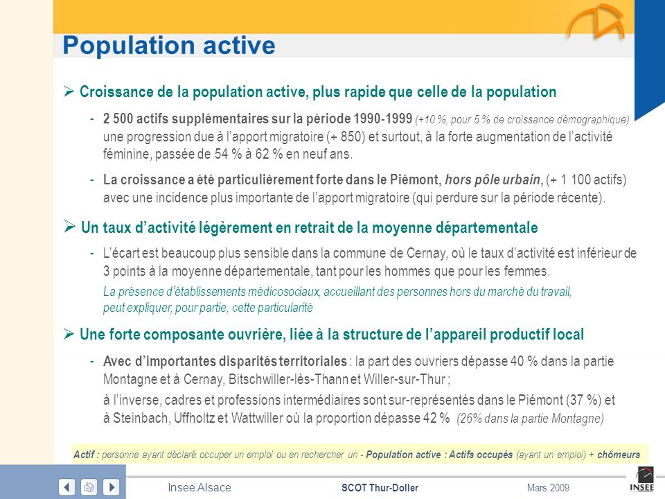 Population active Croissance de la population active, plus rapide que celle de la population.