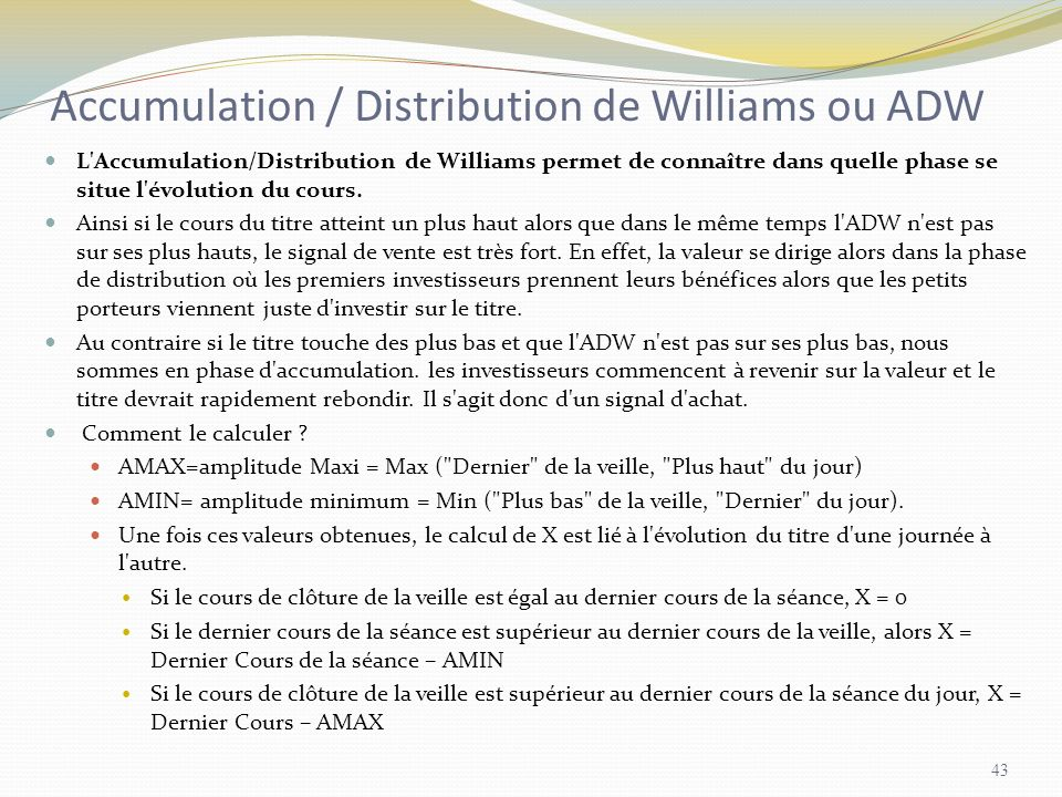 Accumulation / Distribution de Williams ou ADW