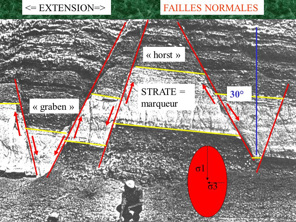 <= EXTENSION=> FAILLES NORMALES « horst » STRATE = marqueur 30° « graben » σ1 σ3
