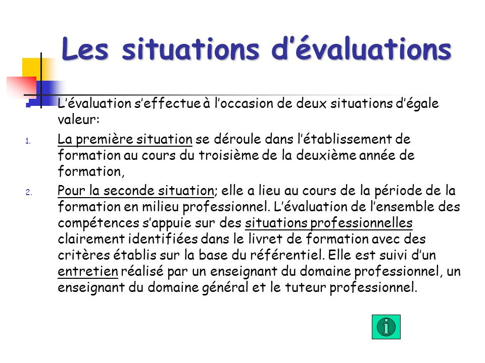 Les situations d'évaluations