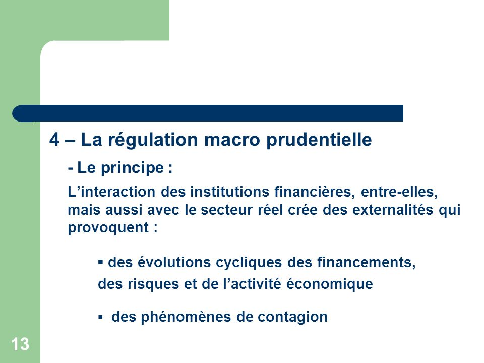 4 – La régulation macro prudentielle - Le principe :