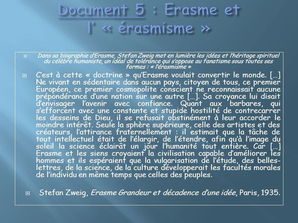 Document 5 : Erasme et l' « érasmisme »