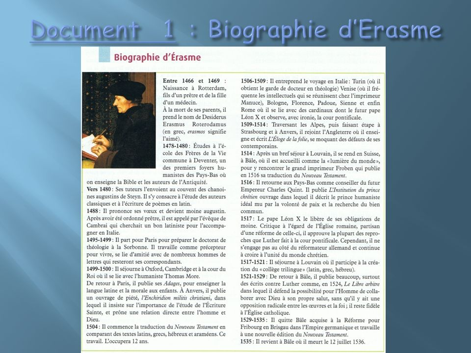Document 1 : Biographie d'Erasme