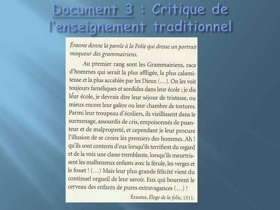 Document 3 : Critique de l'enseignement traditionnel