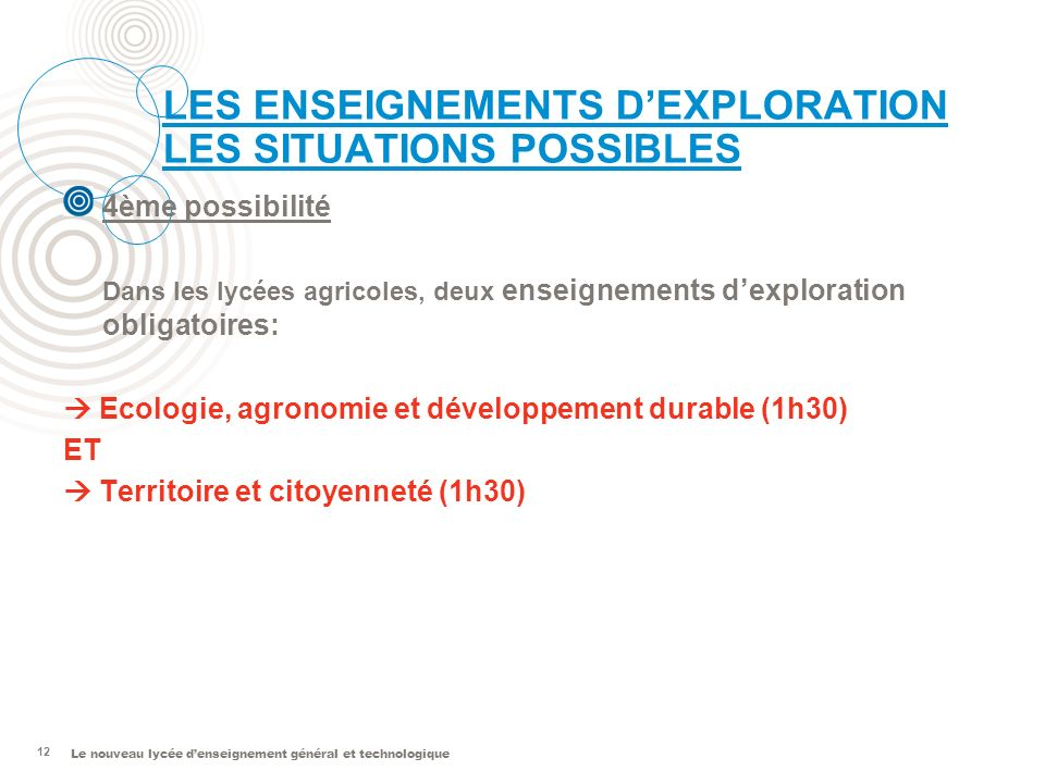 LES ENSEIGNEMENTS D'EXPLORATION LES SITUATIONS POSSIBLES