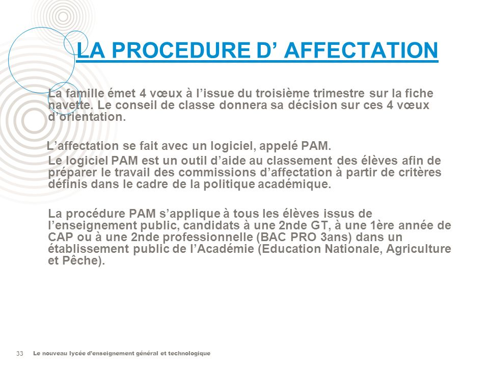 LA PROCEDURE D' AFFECTATION