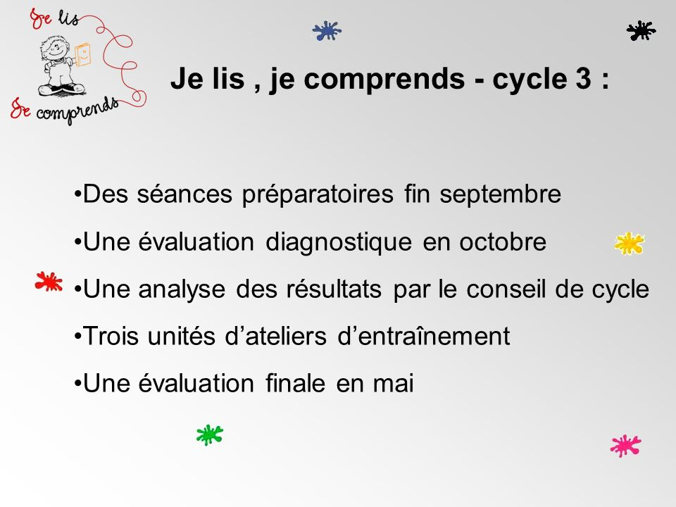 Je lis , je comprends - cycle 3 :