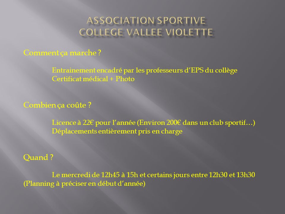 ASSOCIATION SPORTIVE COLLEGE VALLEE VIOLETTE