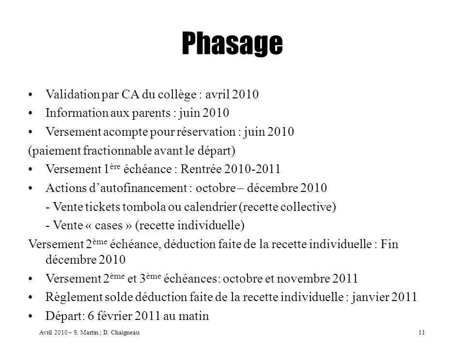 Phasage Validation par CA du collège : avril 2010