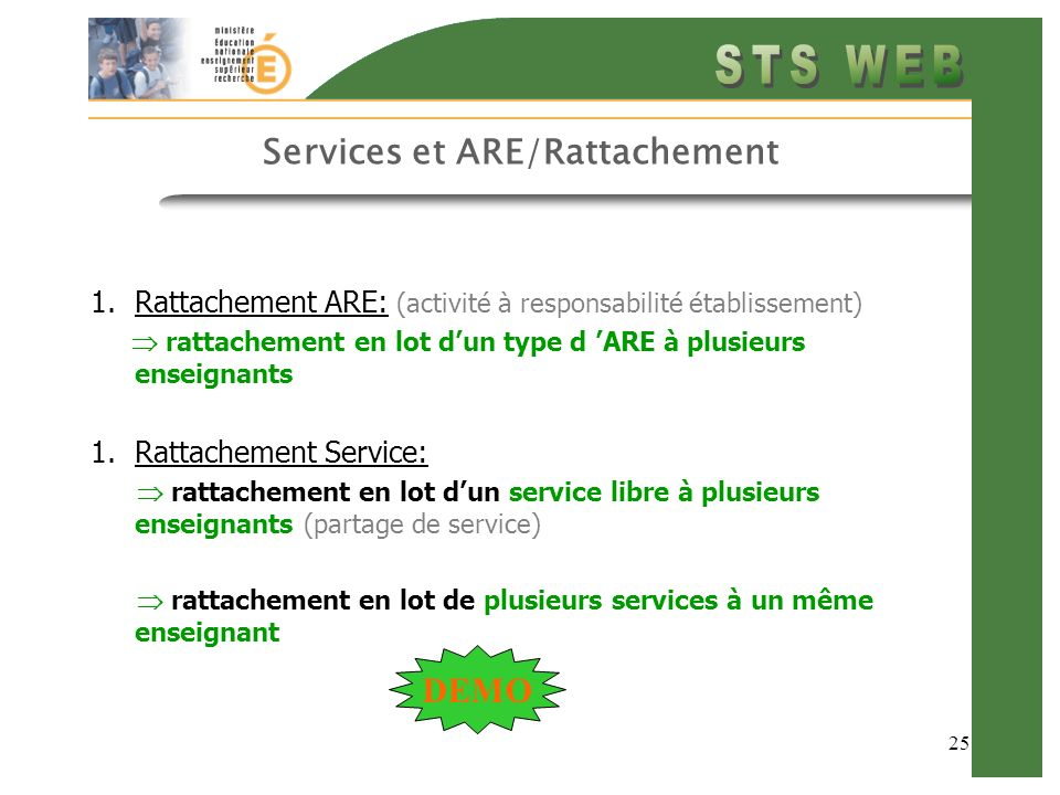 Services et ARE/Rattachement