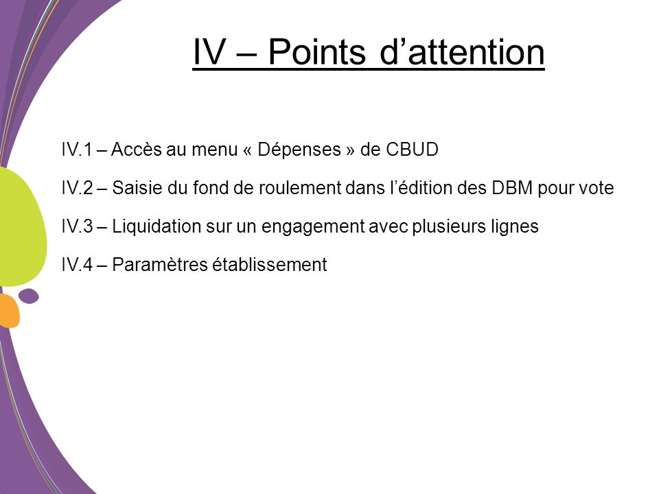 IV – Points d'attention