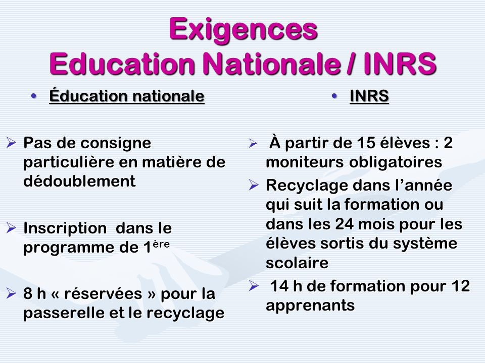 Exigences Education Nationale / INRS