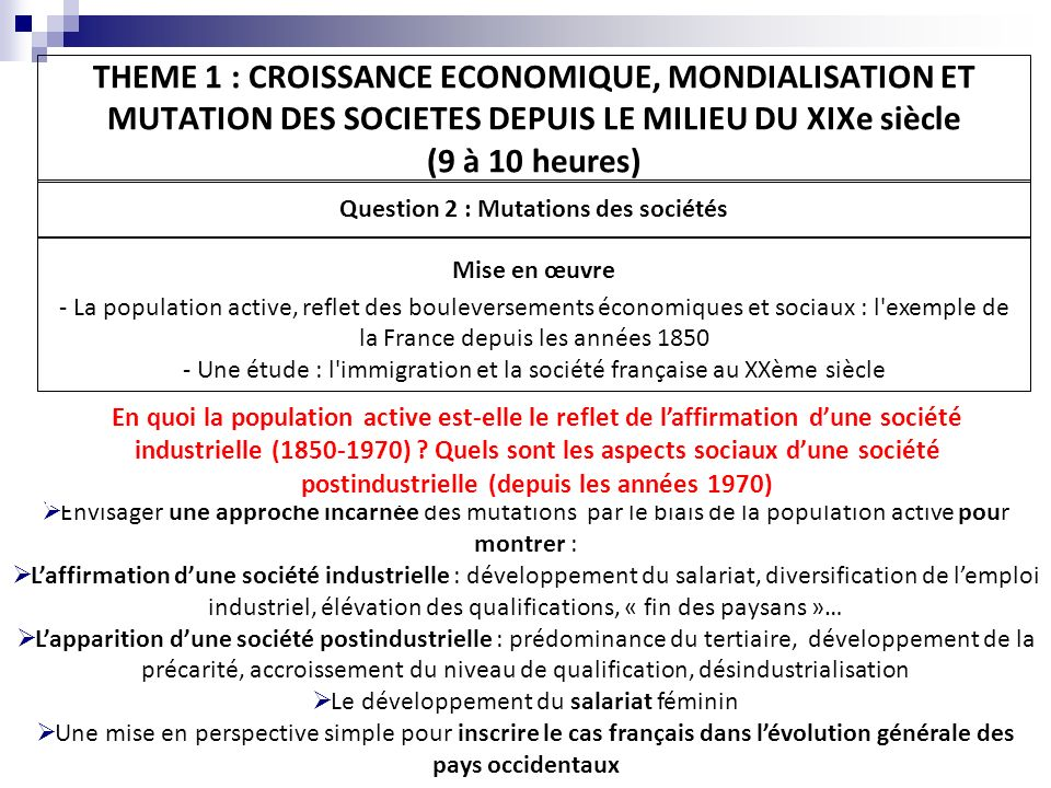 Question 2 : Mutations des sociétés