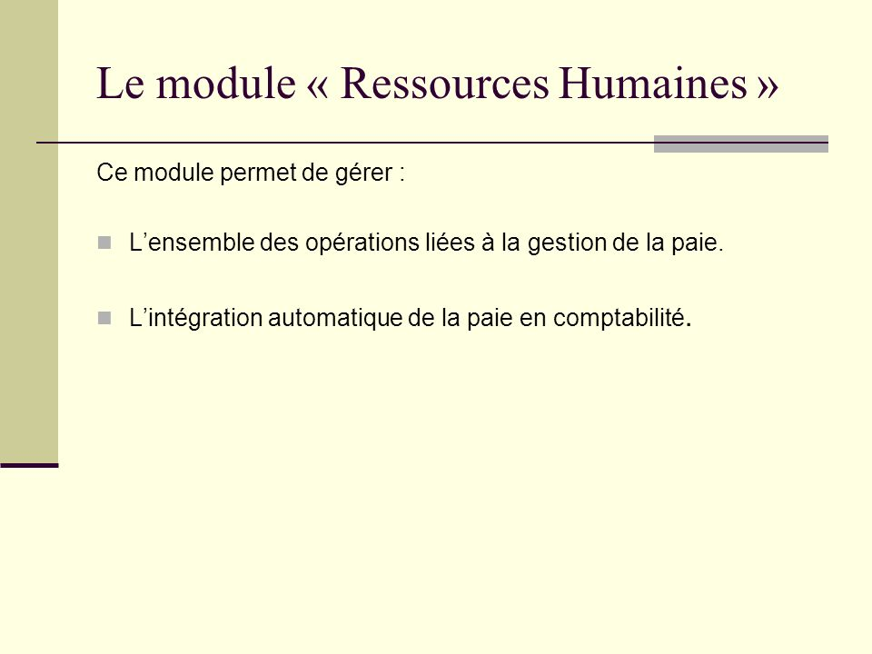 Le module « Ressources Humaines »