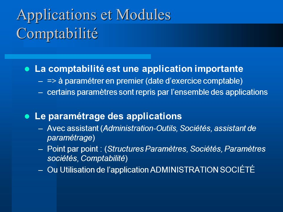 Applications et Modules Comptabilité