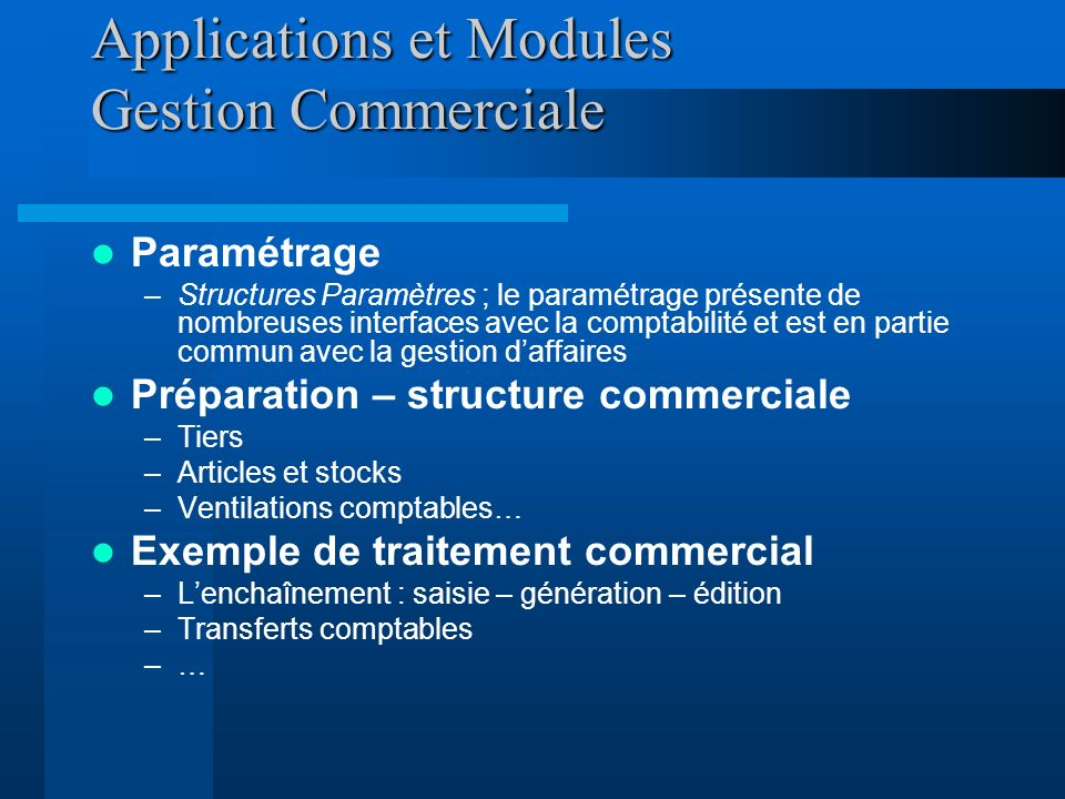 Applications et Modules Gestion Commerciale