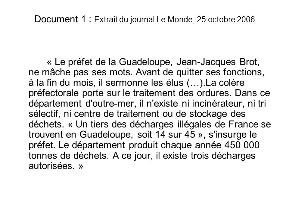 Document 1 : Extrait du journal Le Monde, 25 octobre 2006