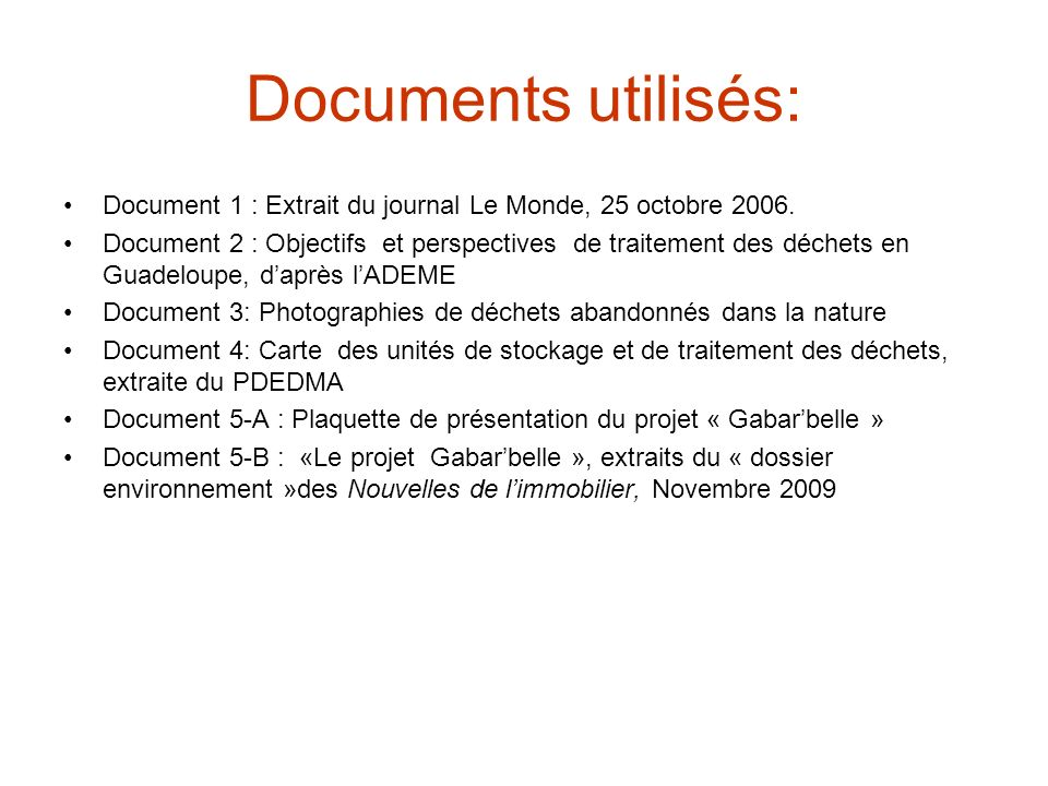 Documents utilisés: Document 1 : Extrait du journal Le Monde, 25 octobre