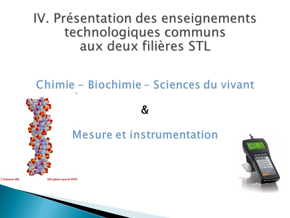 Chimie - Biochimie – Sciences du vivant Mesure et instrumentation