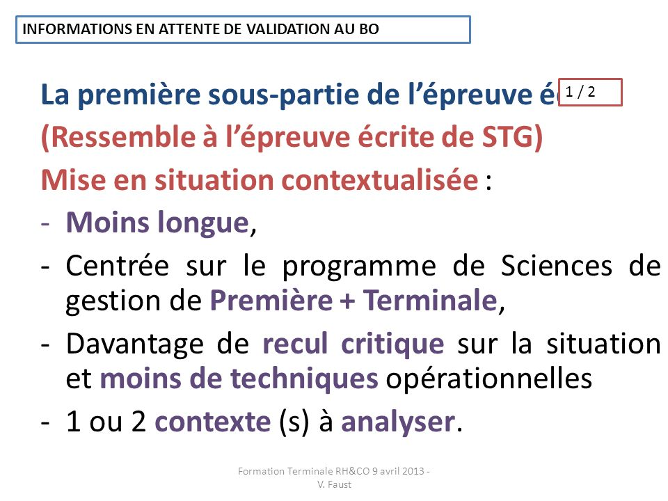 Formation Terminale RH&CO 9 avril 2013 - V. Faust