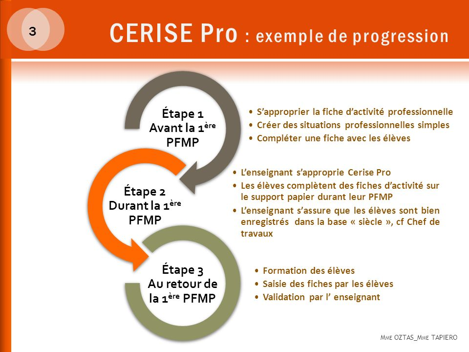 CERISE Pro : exemple de progression