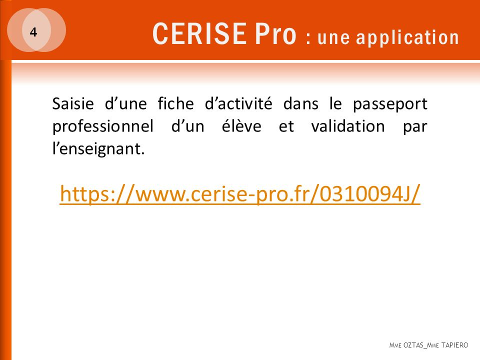 CERISE Pro : une application