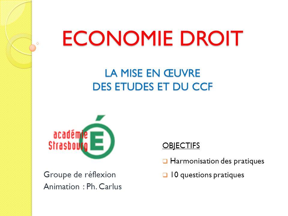 economie droit la mise en  u0152uvre des etudes et du ccf