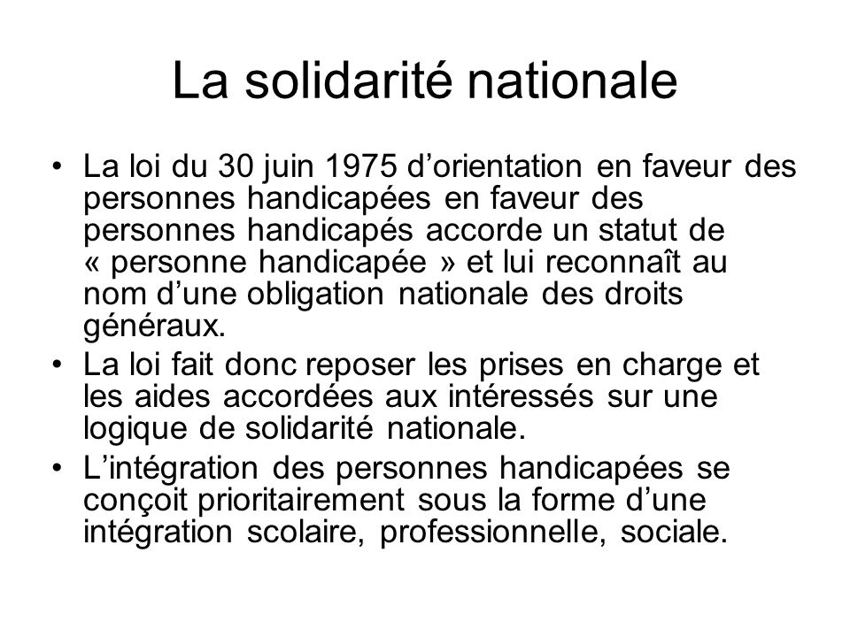 La solidarité nationale