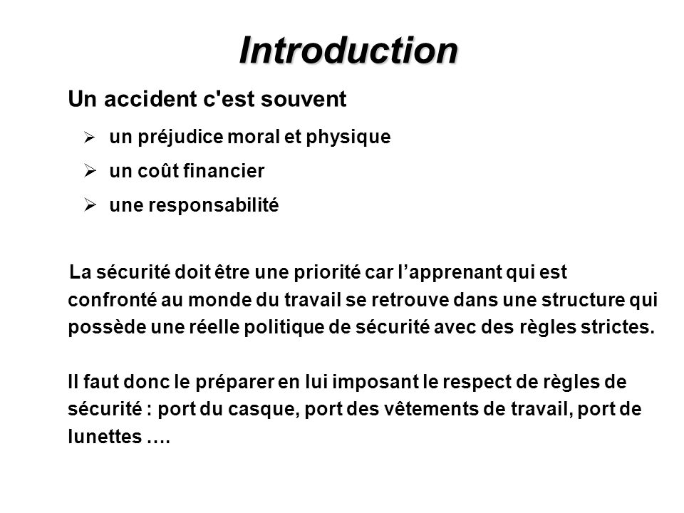 Introduction un coût financier une responsabilité