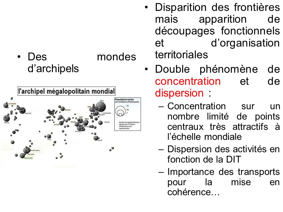 Double phénomène de concentration et de dispersion :