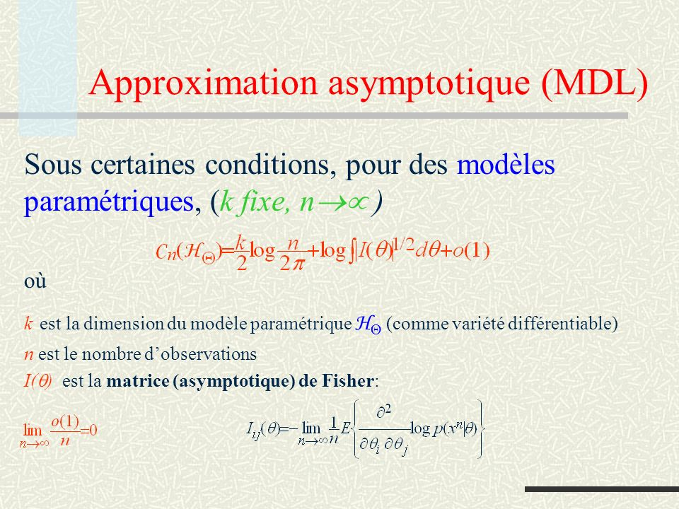Approximation asymptotique (MDL)