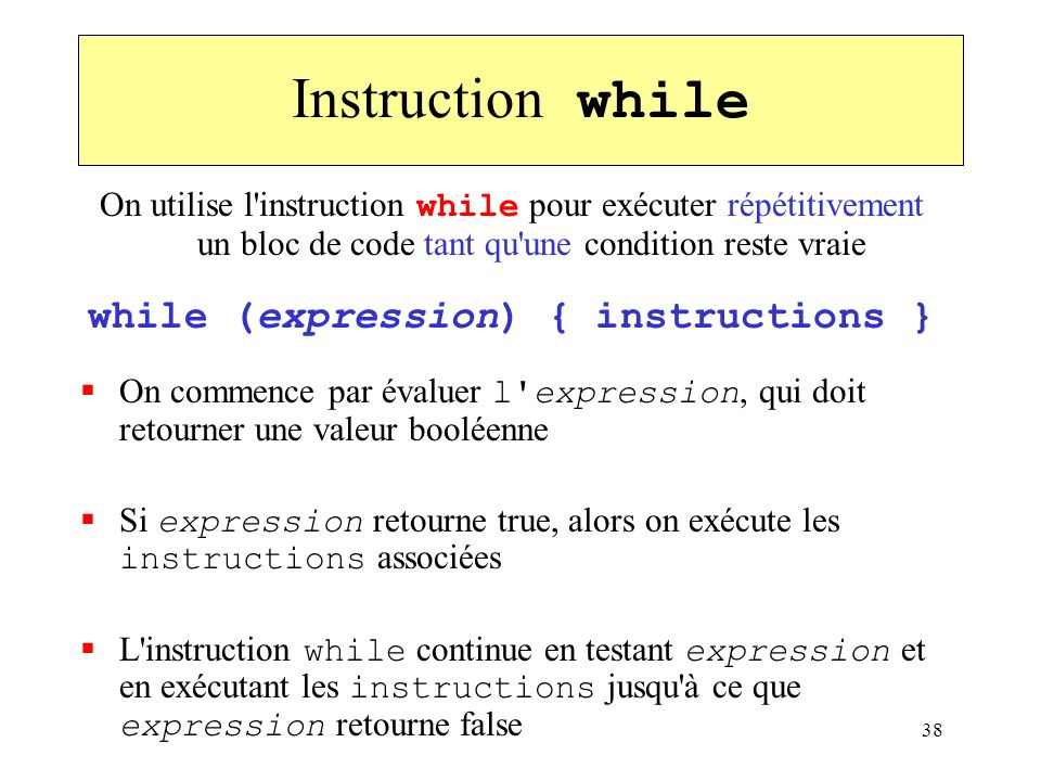 while (expression) { instructions }