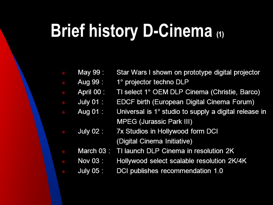 Brief history D-Cinema (1)