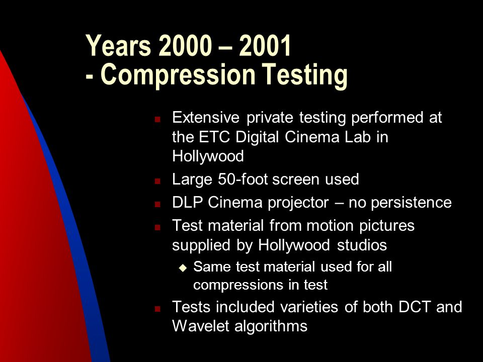 Years 2000 – 2001 - Compression Testing