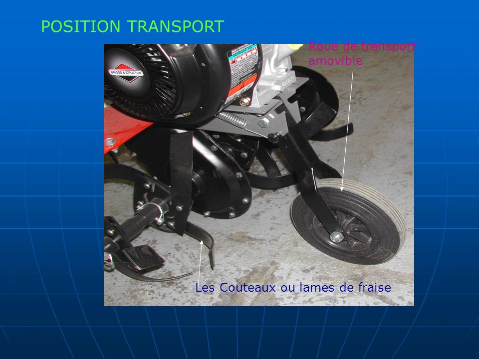 POSITION TRANSPORT Roue de transport amovible