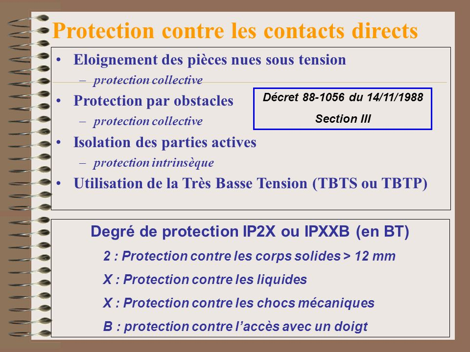 Protection contre les contacts directs