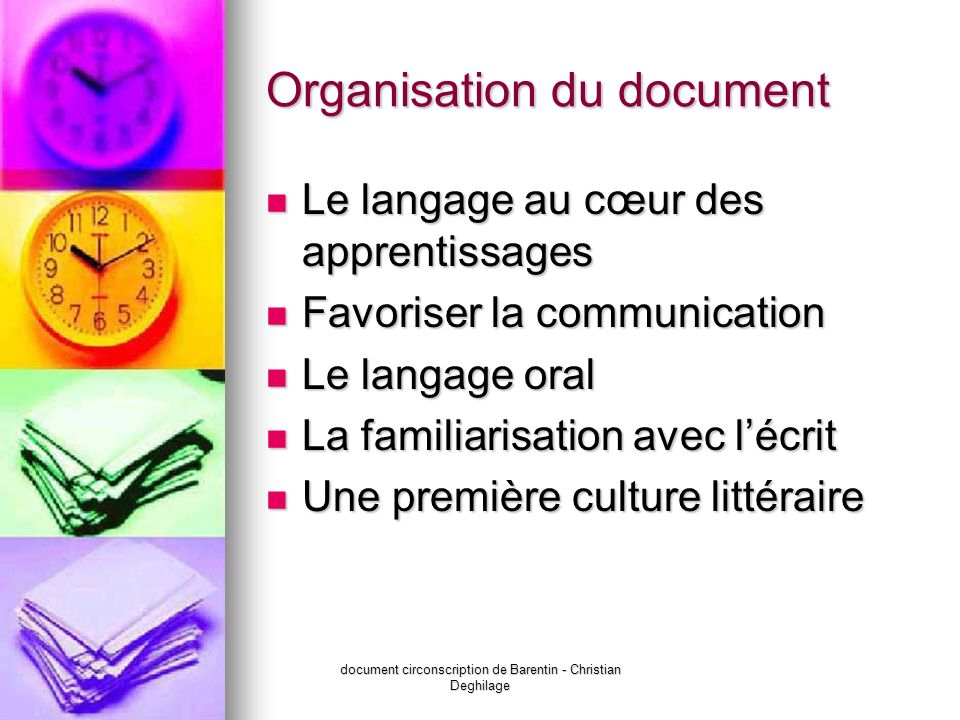 Organisation du document