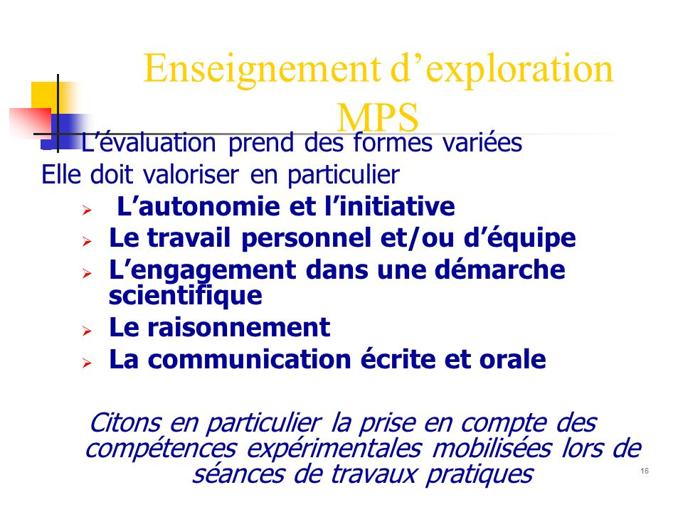 Enseignement d'exploration MPS